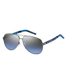 Metal Aviator Sunglasses, Pewter