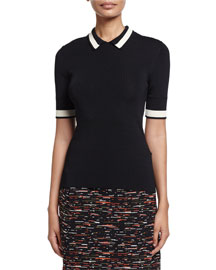 Short-Sleeve Contrast-Striped Ribbed-Knit Polo, Black/Bone