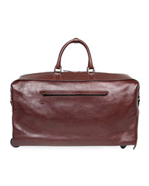 Two-Wheel Leather Carryon Duffel Bag, Brown