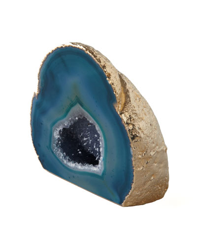 Green Agate Geode With Gold