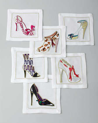 Six Shoe-Embroidered Cocktail Napkins