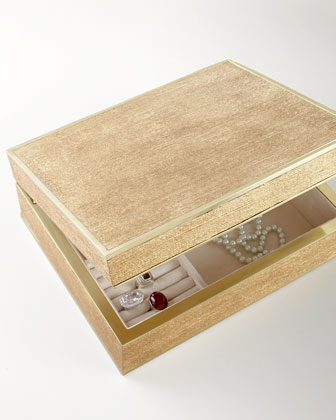 Large Gold Linen Jewelry Box