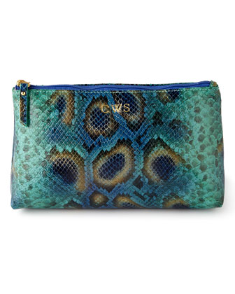 Blue Python-Print Cosmetic Case