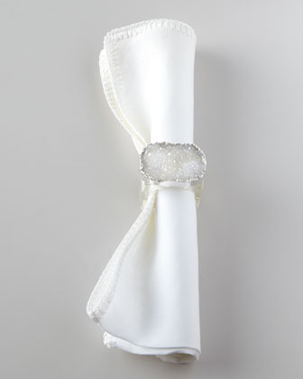 Four Crystal Rock Napkin Rings