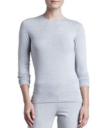 Tricot Long-Sleeve Top, Gray