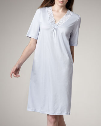 Moments Short-Sleeve Gown, Blue Glow