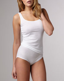 Cotton Seamless Tank, White