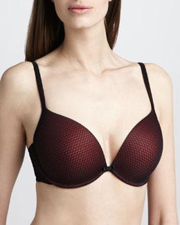 Le Mystere Plunging Push-Up Bra, Black/Red