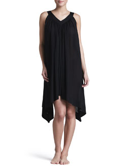 Donna Karan Batiste Woven Gown, Short, Black