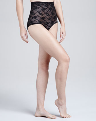 Glam Stretch-Lace Shaper Briefs, Black