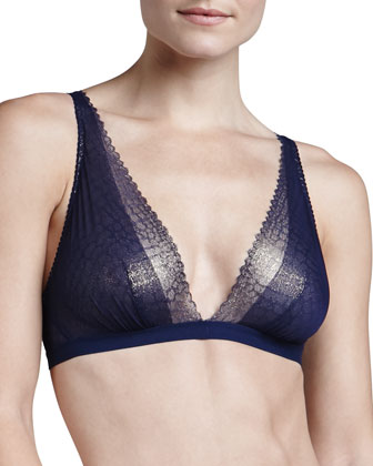 Cleope Soft Triangle Bra, Navy/Gold