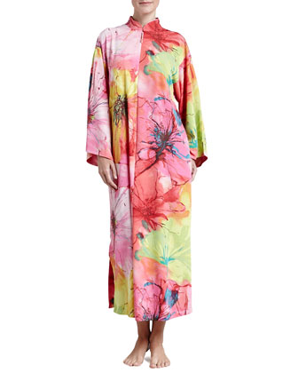 Gala Satin Watercolor Zip Caftan, Women's