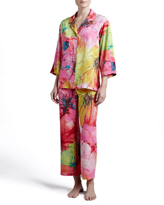 Gala Notch Satin Pajamas