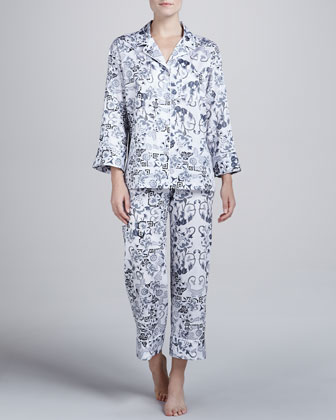 Ceramic-Print Sateen Pajamas