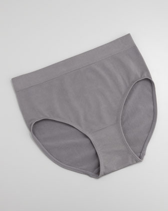 High-Waist Smooth Briefs, Platinum