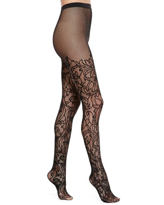 Nahla Floral Tights, Black