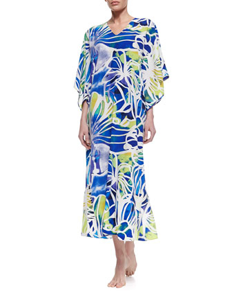 Zelda V-Neck Crepe de Chine Lounge Caftan, Ming Blue, Women's