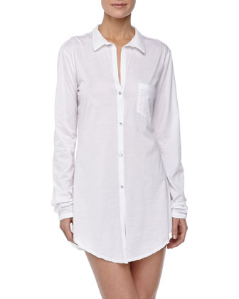 Carrie Boyfriend Sleeping Shirt, White