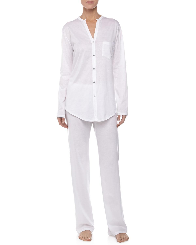 Hanro Cotton Deluxe Pajama Set, Size: L, White