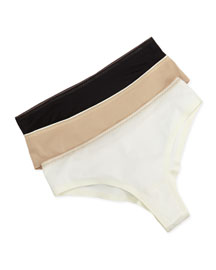 Basic Invisible Thong, Black/Milk/Nude