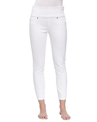 Cropped Denim Control-Top Leggings, White Wash