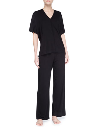 Shangri-La Short-Sleeve Tunic Pajamas, Black
