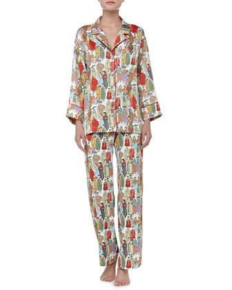 Dynasty Notch Satin Pajamas, Pearl