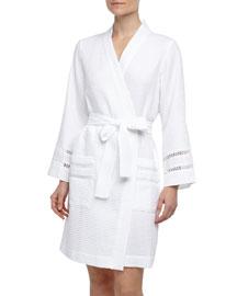 Spa Oasis Crochet-Trim Short Robe, White