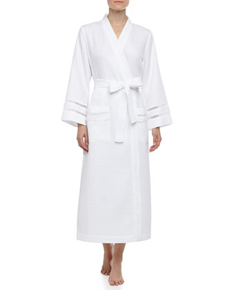 Spa Oasis Crochet-Trim Long Robe, White