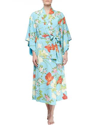 Peranakan Floral Print Long Kimono Robe