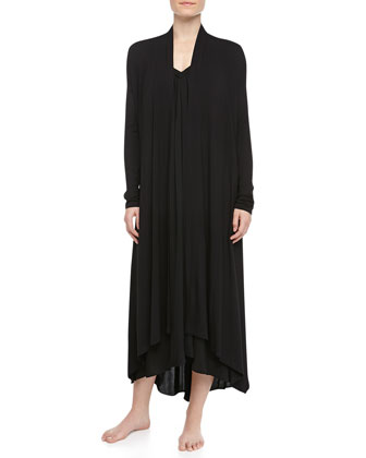 Tissue Crepe Long Robe, Black