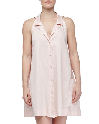 Button-Front Batiste Sleepshirt, Bisque