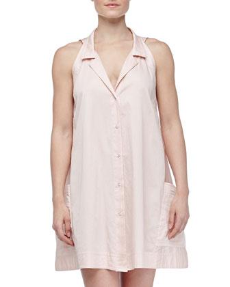 Button-Front Batiste Sleepshirt, Bisque