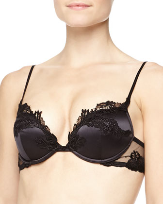 Ricamato Embroidered Satin Push-Up Bra, Black