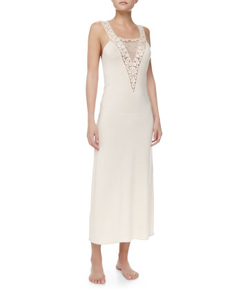 Tulle Ricamato Lace-Trim Tank Gown