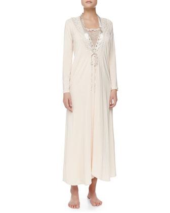 Tulle Ricamato Lace-Trim Long Robe