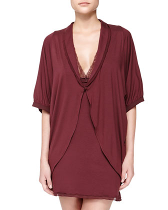 Pizzo Short-Sleeve Coverup Robe