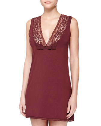 Pizzo V-Neck Short Gown