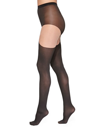 Shania Embroidered Tights, Sahara/Black