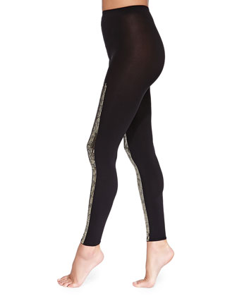 Scarlett Sequin-Stripe Leggings, Black/Gold