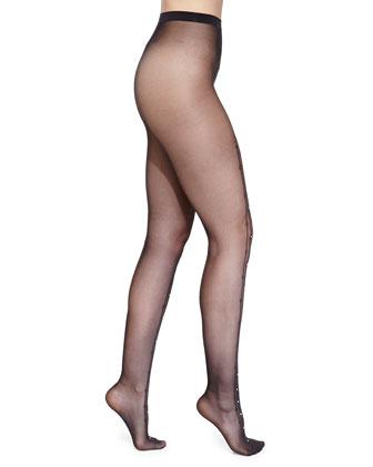 Angelina Rhinestone-Embellished Tights, Black/Gold