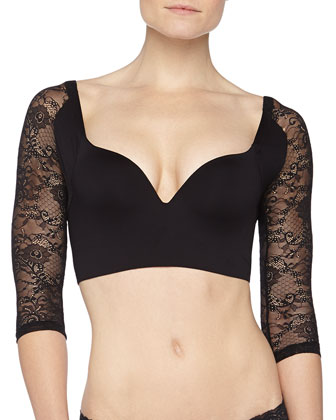 Trenta Betsy Lace-Sleeve Push-Up Bra, Black