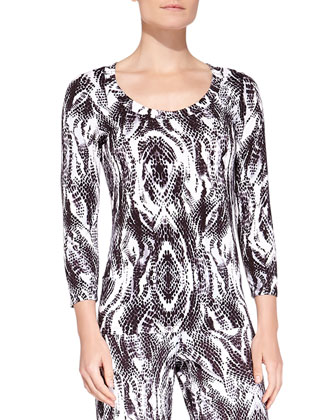 Pordenone Snake-Print Sleep Top, Anthracite/Black
