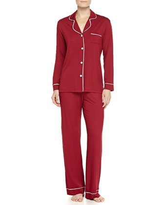 Bella Piped Solid Pajamas, Wineberry/Ivory