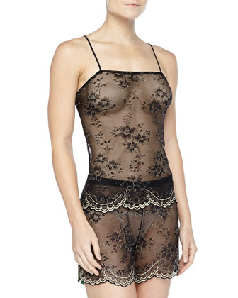 Vicenza Shimmer-Lace Cami & Boxer Set, Black/Gold