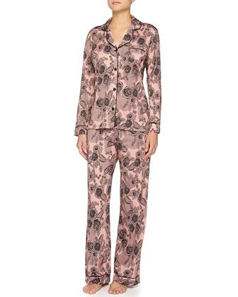 Bella Lace-Print Long-Sleeve Pajama Set