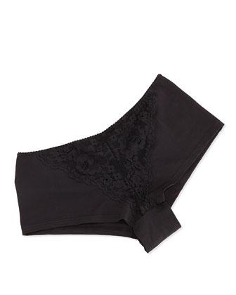Ravello Lace-Inset Hotpants, Black