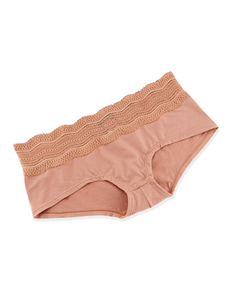Dolce Scalloped Eyelet Trim Boy Shorts, Hazel