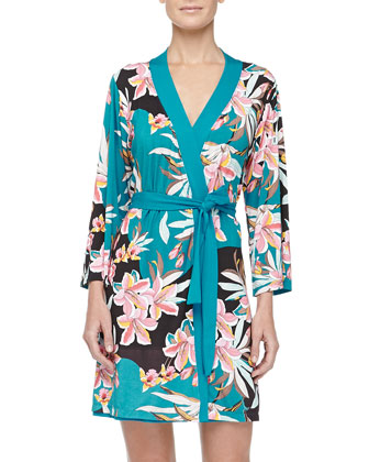 Ibisco Floral Print Short Robe, Sapphire
