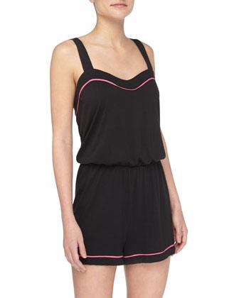 Bella Sweetheart-Neck Lounge Jumpsuit, Black/Miami Pink